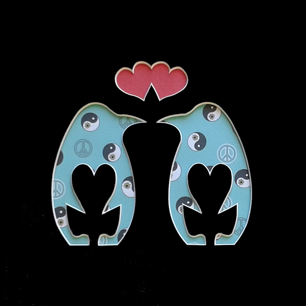 Love penguins Black cut out shape