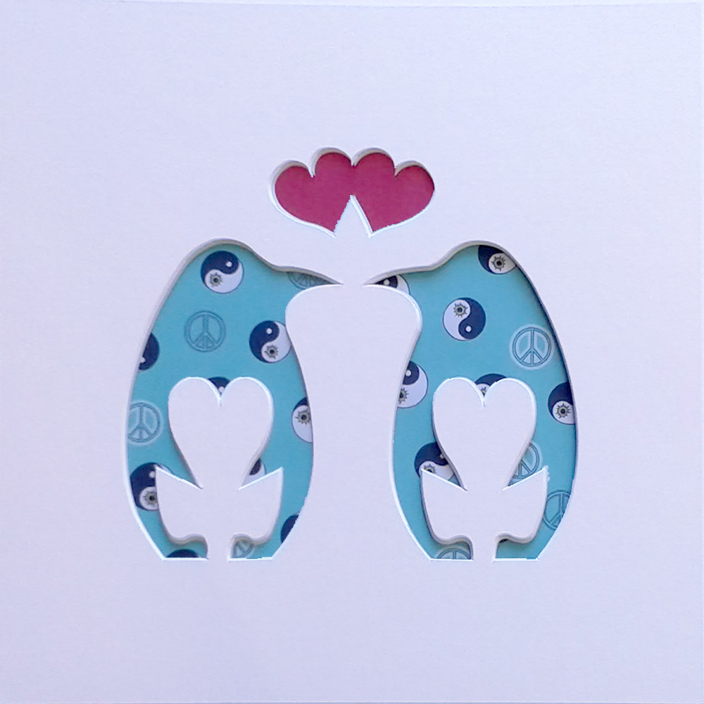 Love Penguins White Cut out shape
