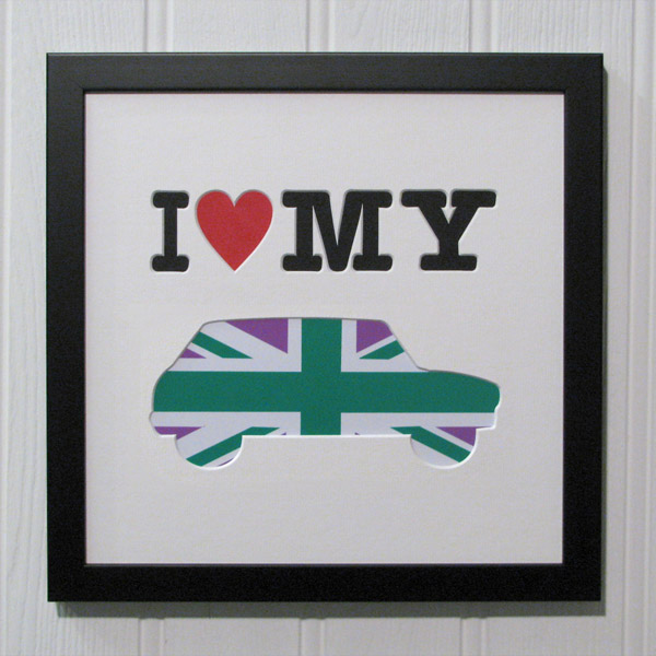 I Love My Mini Green & Pink Union Jack