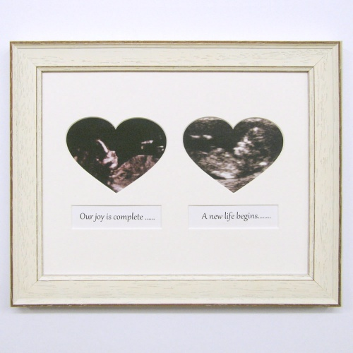 Pair Heart Shape Baby Scan Frame
