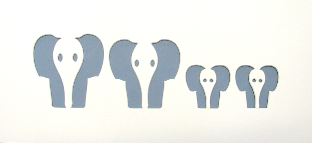 Family of 4 Elephant Shape Mount