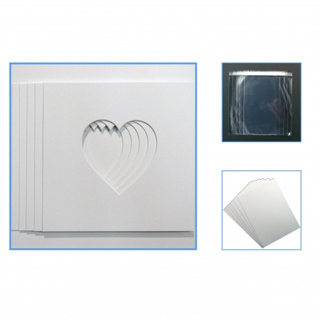 Econ Pack of 5 Heart  mounts, Backing & Bag 23x23cm[1]